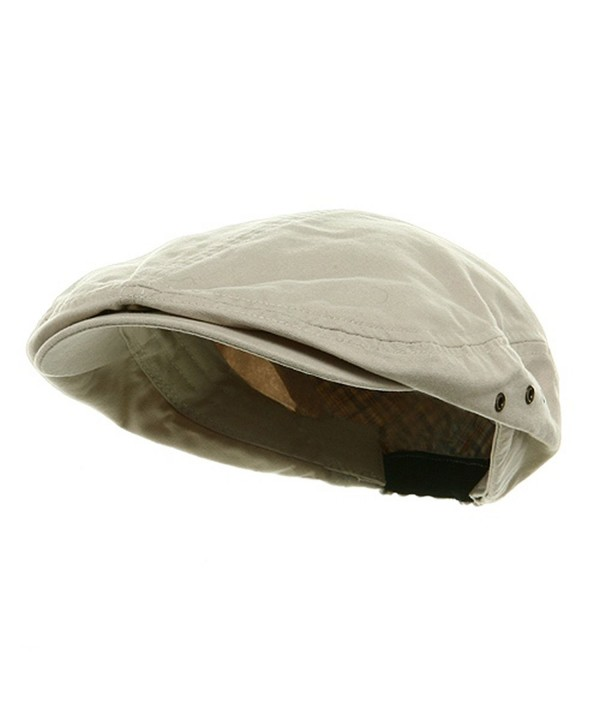 Mega Cap MG Men's Plaid IVY Washed Canvas newsboy Cap Hat - Stone - CB1130ZB4CH