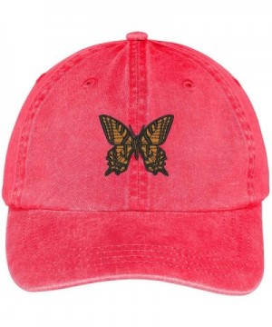 Trendy Apparel Shop Butterfly Embroidered Washed Cotton Adjustable Cap - Red - CG12IFNSMHX