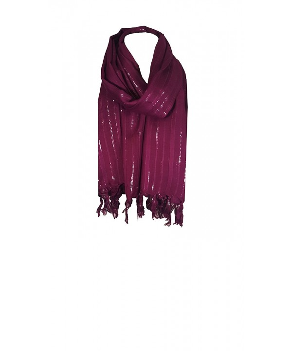 World of Shawls Ladies Womens Glitter Pashmina Scarf Stole Wrap - Wine - C612MIAI5LL