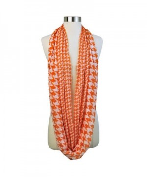 Orange Houndstooth Print Infinity Scarf in Fashion Scarves