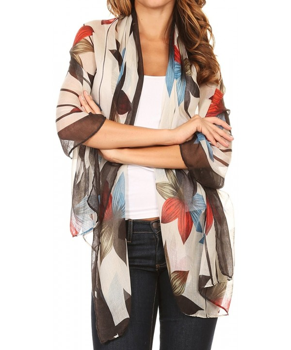 Sakkas Nichole summer gauze featherweight patterned versitile sheer scarf wrap - 7-black / White - CV17Y7G5MTU