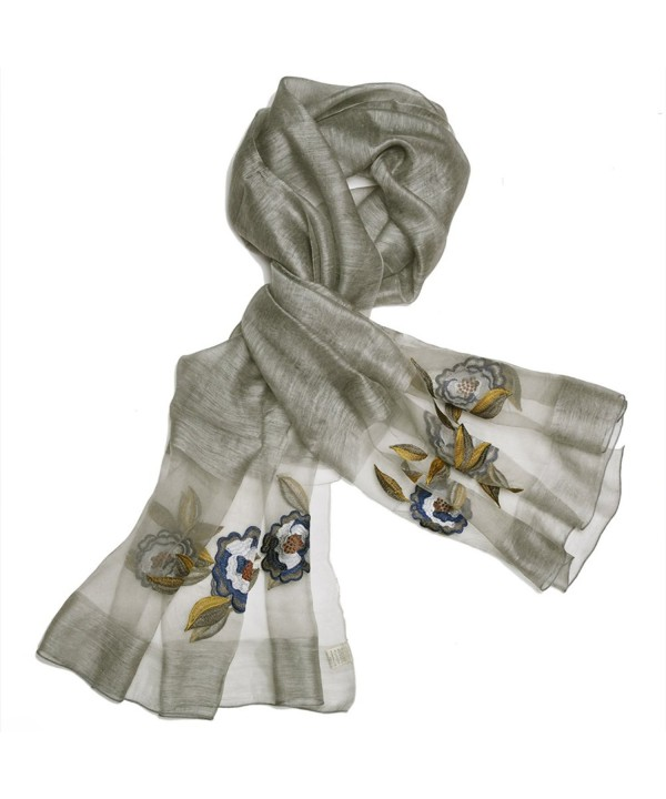 "S&S Women Silk Wool Guaze Embroidered Floral Scarves Soft Long Shawl Wrap 35""x75"" - 2-gray - CO184WK2IRC"