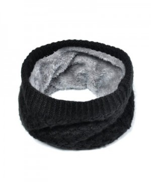 Lo Shokim Harsh Winter Double-Layer Soft Fleece Lined Thick Knit Neck Warmer Circle Scarf Windproof - Black - CL186I9N6UE