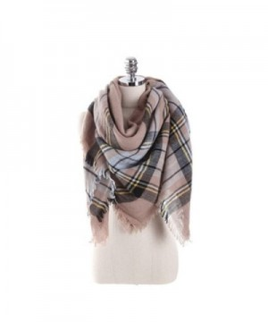Women's Cozy Tartan Scarf Wrap Shawl Neck Stole Warm Plaid Checked Pashmina - Cream Pink Gray - C8186R4W4DI