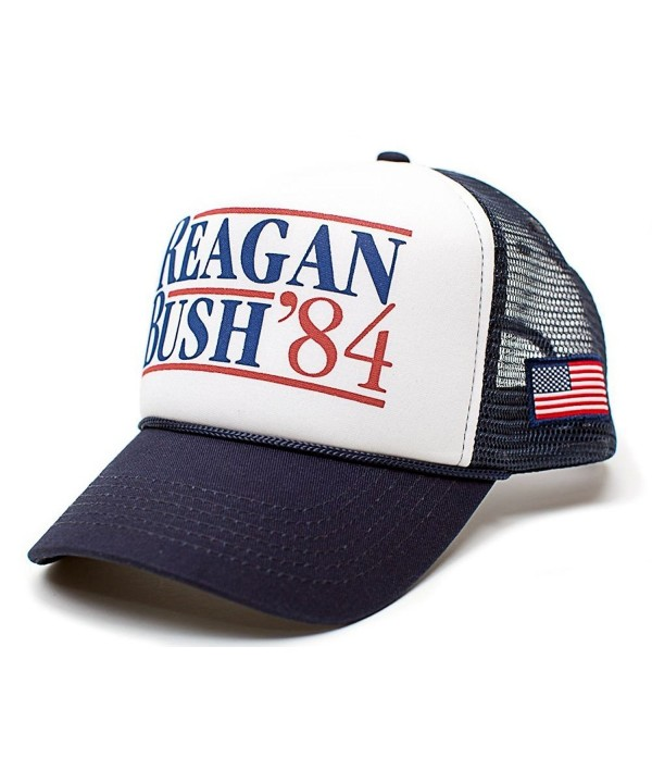 Reagan Bush 84 Hat Back To Back World War Champs USA Flag Unisex Adult Cap - Navy/White - CQ12GTY4AL1