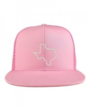Trendy Apparel Shop Texas State Outline Embroidered Cotton Flat Bill Mesh Back Trucker Cap - Pink - C3185YMHDE6
