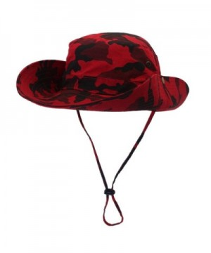 Home Prefer Men's UPF50+ Fishing Sun Hat Snap Wide Brim Bucket Hat With String - Red - C017YYGMTAG