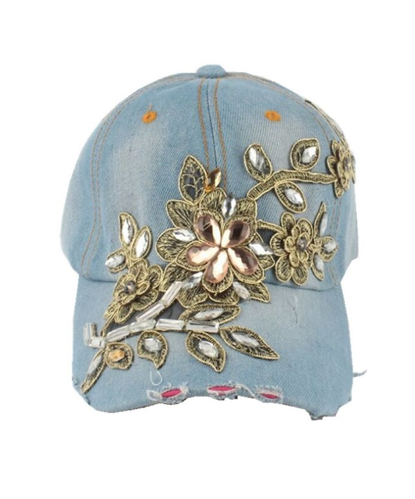Joymee Women Diamond Flower Baseball Cap Summer Style Lady Jeans Hats - 2 - CJ17AZLTLIC