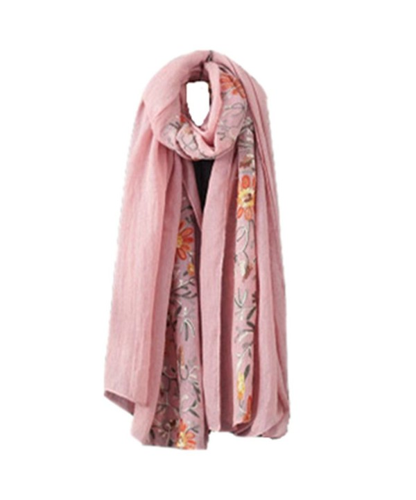 Clearance! E-Papaya Womens Two-tone Cotton linen printing shawl Wraps Pashminas - Floral-pink - CS188Z2S0MA