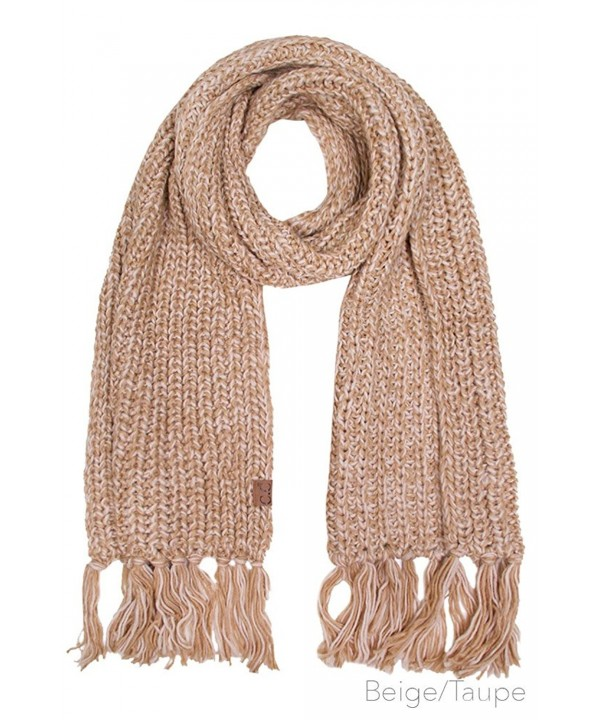 ScarvesMe CC Soft Two Tone Oversize Chunky Knit Scarf with Tassel - Beige/taupe - C212M0K8OHF