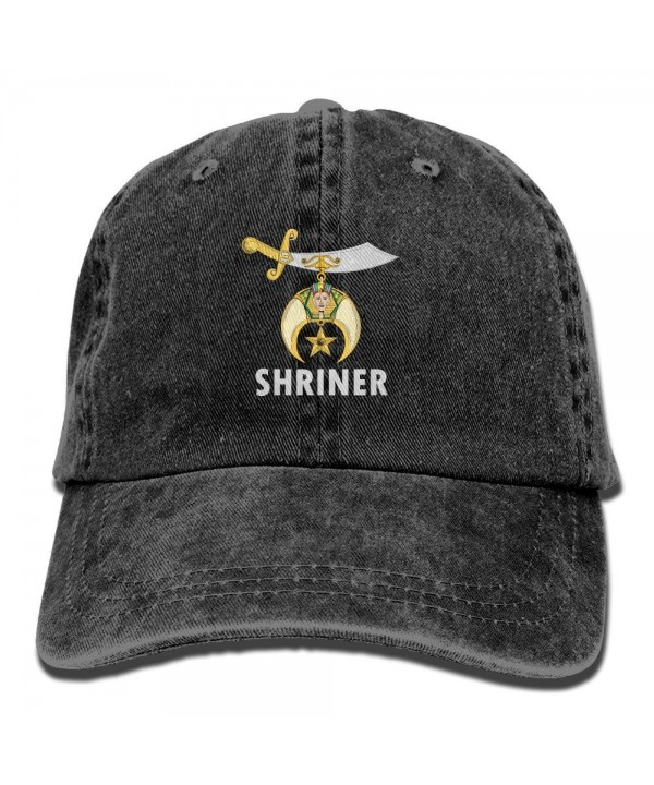 Logo Of Shriners International Vintage Washed Dyed Cotton Twill Low Profile Adjustable Baseball Cap - Black - CW17AAGXT5T