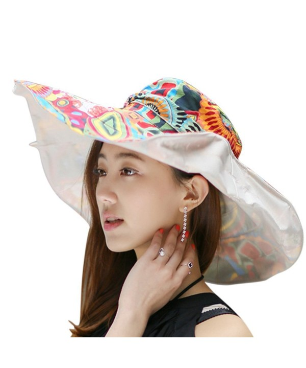 Witery Women Summer Reversible Floppy Wide Brim Beach UPF50+ Foldable Sun Hat Visor Cap - Beige - CW12E9P9K3V
