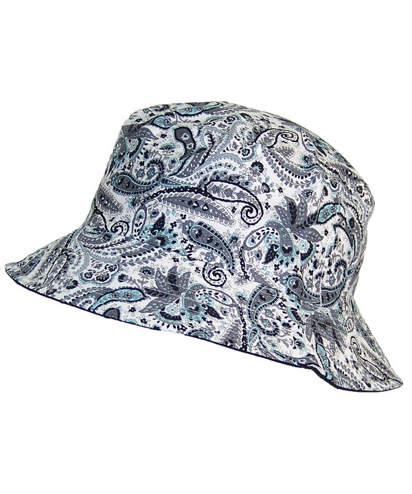 Tropic Hats Paisley Design Print Soft Floppy Bucket Hat (One Size) - Gray/Aqua/Black - C212E2Y9ASD