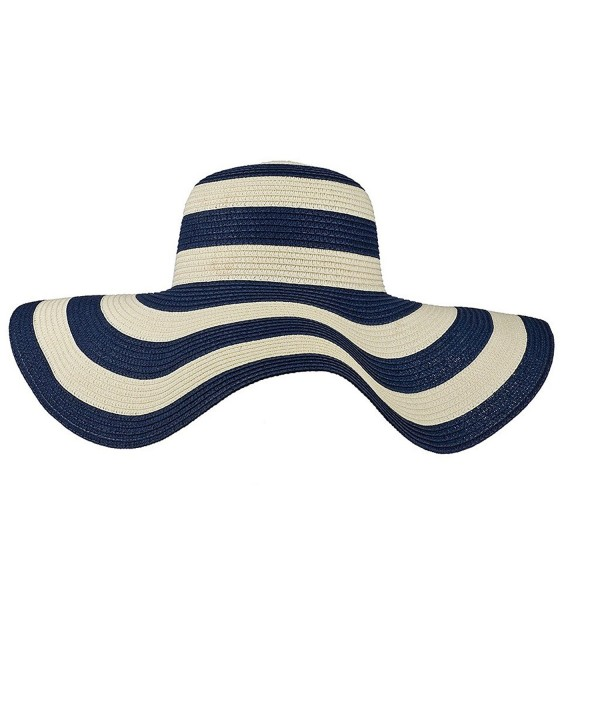 Lux Accessories Straw Hat Blue White Stripe Wide Brim Fedora Floppy Cloche Derby Sun Hat Cap - C112052JEZV