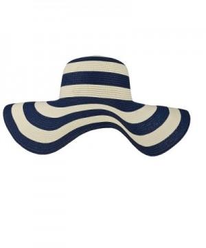 Lux Accessories Straw Hat Blue White Stripe Wide Brim Fedora Floppy Cloche Derby Sun Hat Cap - C112052JEZV