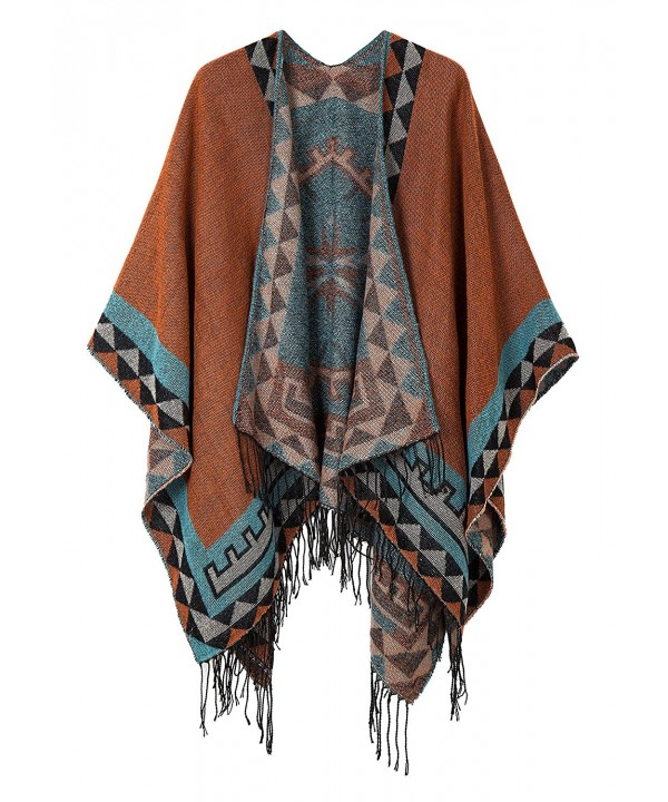 Urban CoCo Women's Printed Tassel Open front Poncho Cape Cardigan Wrap Shawl - Orange-series 5 - C5185YU5OR8