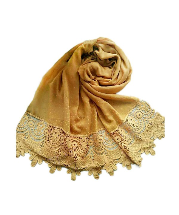 Raylans Women Lady Fashion Cotton Lace Long Scarf Wrap Shawl - Yellow - C0188R3H40U