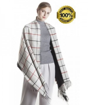 Women's Scarf Soft Plaid Blanket Scarves Winter Large Shawls and Wraps Christmas Gift KAISIN - Gray - CT185A57SCN