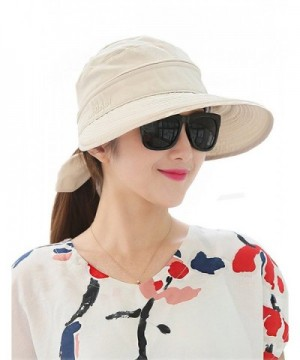 Lujuny Removable Crown Sun Hat - Beige - CC180O8TGUH