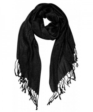 Peach Couture Beautiful Princess Shimmer Sparkle Lightweight Sheer Fringe Scarf - Black - C212712TN6D