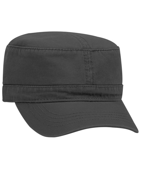 Otto Superior Garment Washed Cotton Twill Military Cap - Black - CQ187I84KLD