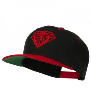 Diamond Embroidered Snapback Two Tone Cap - Black Red - C311ND596JH