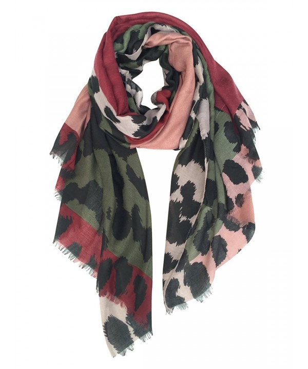 GERINLY Women's Scarves: Colorful Leopard Print Oblong Wrap Scarf - Dark Scarlet - CE185UCUCH8