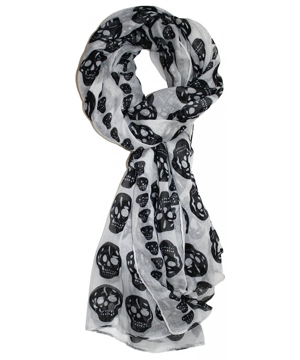 Ted and Jack - Vintage Style Lightweight Skull Print Scarf - White - CU186IOCLSN