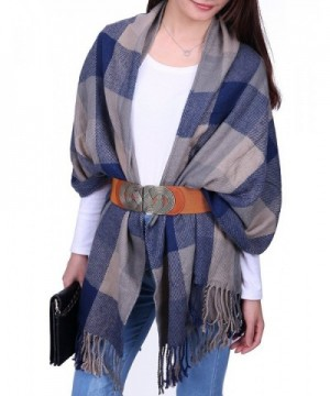 HDE Womens Plaid Blanket Scarf Chunky Oversized Tartan Flannel Winter Shawl Wrap - Blue-grey Plaid - C2186AZGE2E