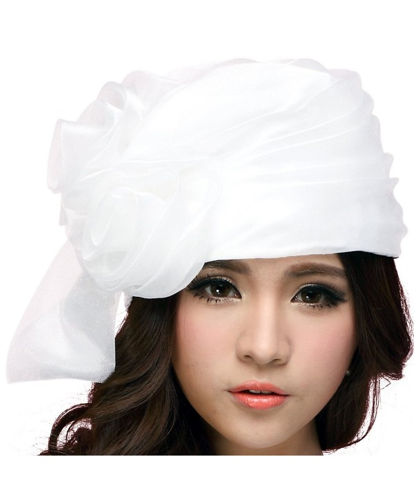 June's Young Women Hat Bucket Hats Summer Organza Big White Flower - CC11A7JJGEB