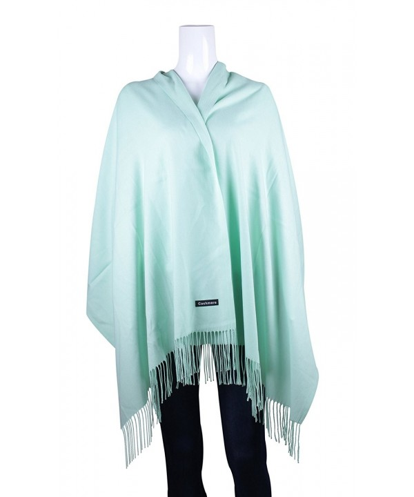 UNISI Large Soft Silky Pashmina Twill Shawl Ladies Wrap Women Scarf in Solid Colors - Mint Green - CZ12K2D4DQN