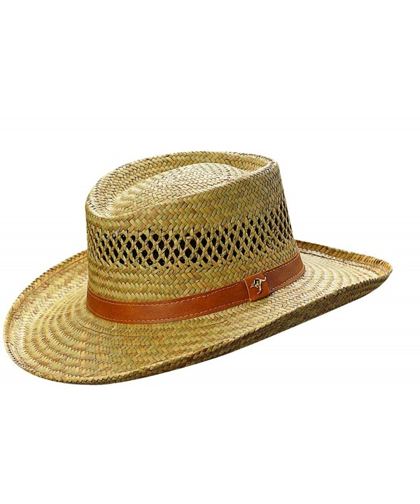 98fc1074751b03 Dorfman Pacific Mens Rush Straw Lightweight Casual Wide Brim Gambler Hat -  Natural Brown - CK111QV7ZP7