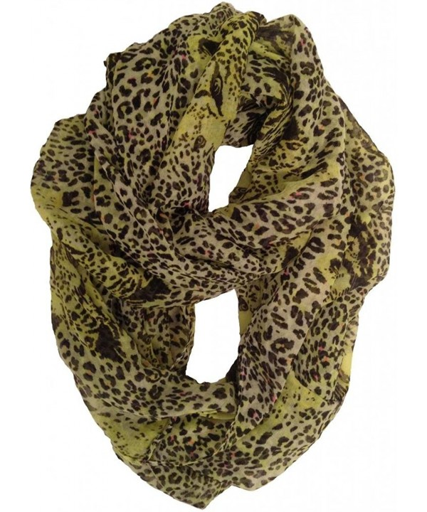 Haddad International Women's Tru Fit Infinity Scarf - Lime Leopard - CU11K794F3J