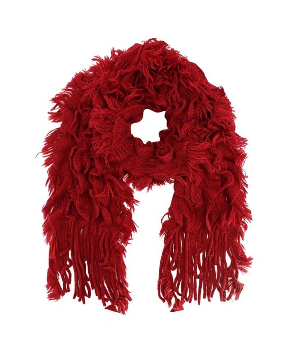 Frilly Ruffle Winter Scarf With Fringe - Red - CK1103TMN05