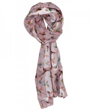 Ted and Jack - Nectar Loving Hummingbird Print Silk Feel Scarf - Pink - C212N1T22QD