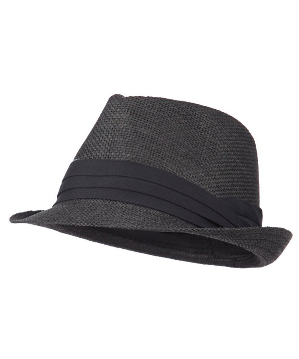 Men's Paper Fedora Hat with Pinched Top - Black - CV11XBRJB0L