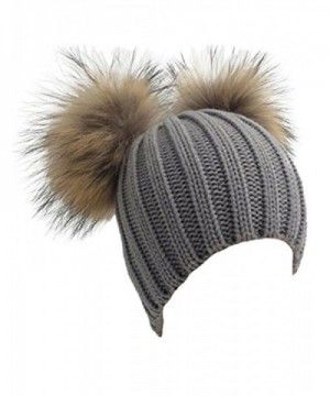 Womens Crochet Hat Raccoon Fur Double Pom Pom Bobble Beanie Warm Winter Ski Cap - Grey - C1186NNOHLK