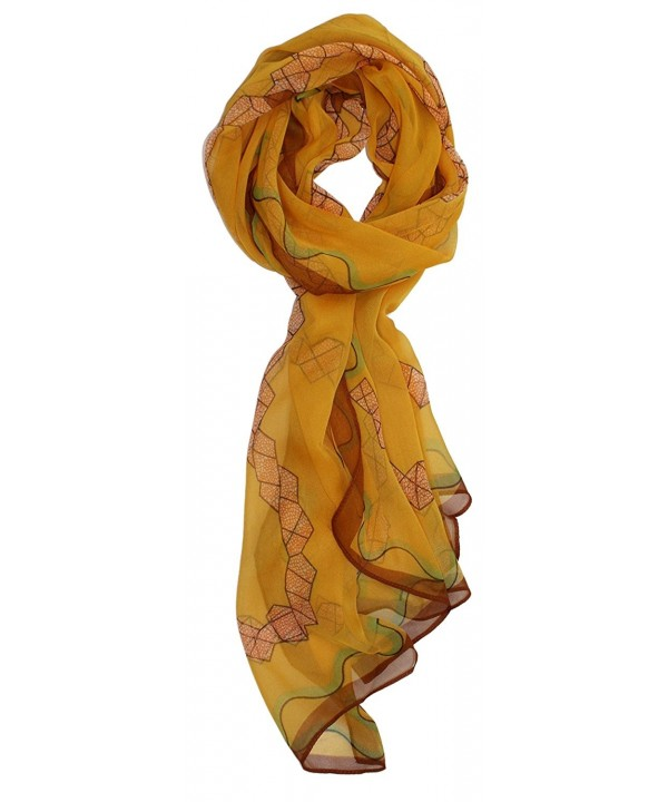 Ted and Jack - Pretty Chiffon Silk Blend Graphic Scarf - Gold Ribbon - CN12H8UN3AT
