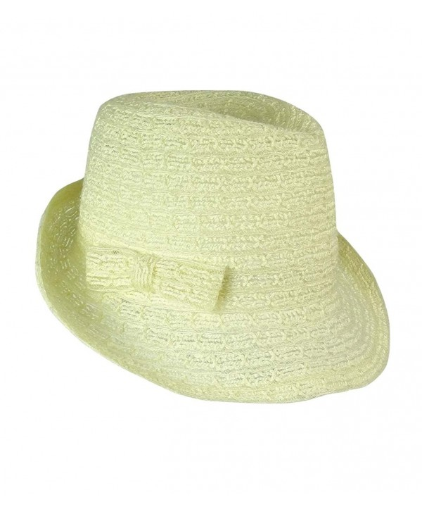 August Accessories Women's Trans Braid Fedora - Ivory - C2125Y0SXTR