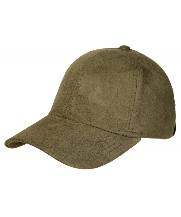 Funky Junque's 6 Panel Solid Adjustable Suede Baseball Velcro Closure Cap Hat - Olive - CM12EUL6PCN