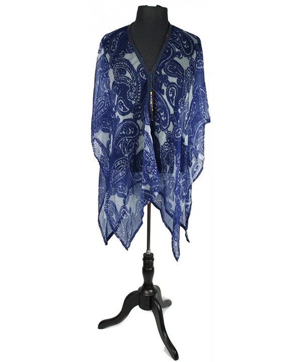 July 4th Paisley Wrap Cover Up Shawl with Stylish Beaded Tie String Closure - Navy - CR182WC68O2