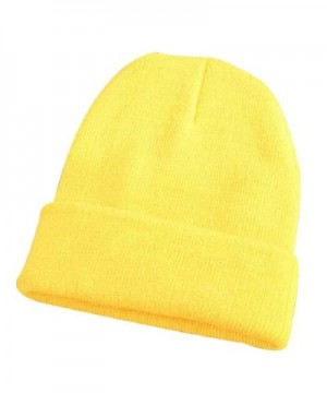 Shineweb Men Women Beanie Knit Cap Hip-Hop Winter Warm Elastic Cuff Hat - Light Yellow - CJ12OCETSMX