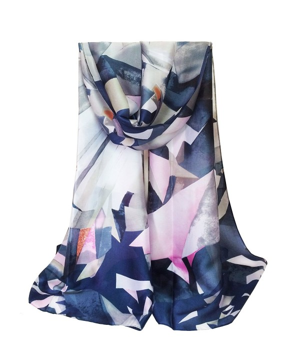 K-ELewon Silk Scarf Fashion Scarves 100% Silk Long Lightweight Sunscreen Shawls for Women - Crystal Blue - C7184ZQ66KW
