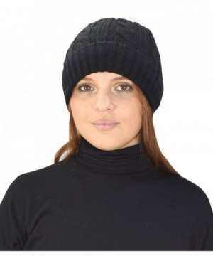 Peach Couture Double Layer Fleece Lined Unisex Cable knit Winter Beanie Hat Cap - Black - CB12N6IQVPY