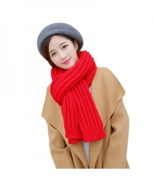 Solid Color Knitted Ladies Scarf Shawl Thick Long Section - Big Red - CS1860GKESI