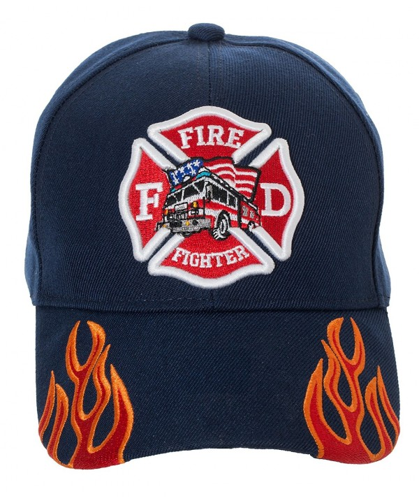 Artisan Owl Fire Fighter Fire Department Rescue Flames Baseball Cap Hat - Navy Blue - CM18699Q7X6