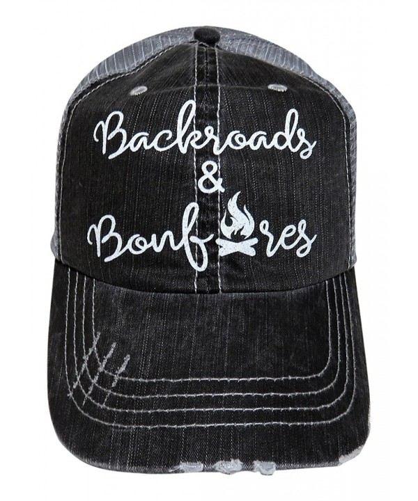 Spirit Caps White Glitter Backroads and Bonfires Distressed Look Grey Trucker Cap - CB17Y7ED83N