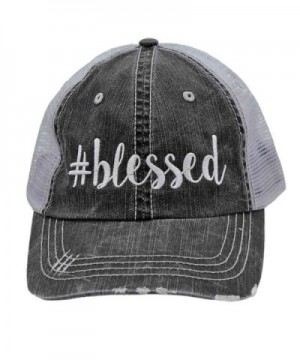 Blessed blessed Glittering or Embroidered Distressed Trucker Style Cap Hat (Emb) - C217YDS2WDX