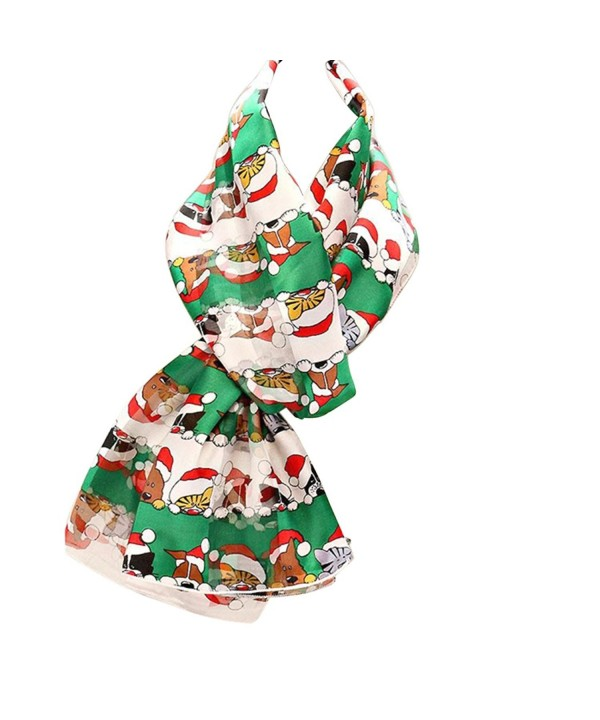 "Rosemarie Collections Women's Christmas Holiday Fashion Scarf ""Dog and Cat Santas"" - Green - CQ12NYU4Q3A"