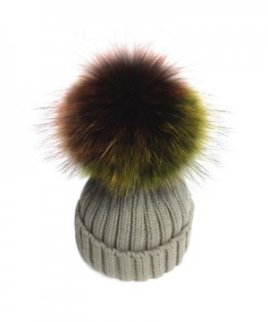 XWDA Women's Detachable Large Multicoloured Real Fur Pompom Beanie Hat - Beige - C912O3UDJ87